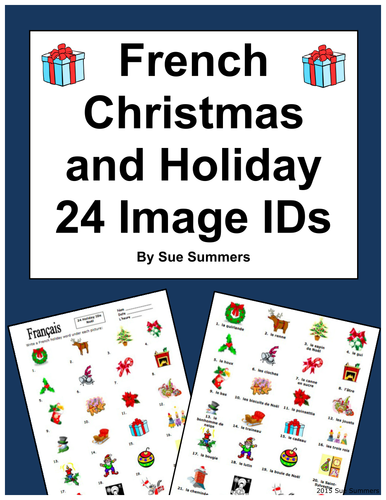 French Christmas Vocabulary 24 Image IDs - Noël