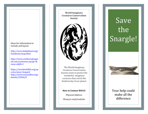 Save the Snargle - informative and persuasive writing for Year 7