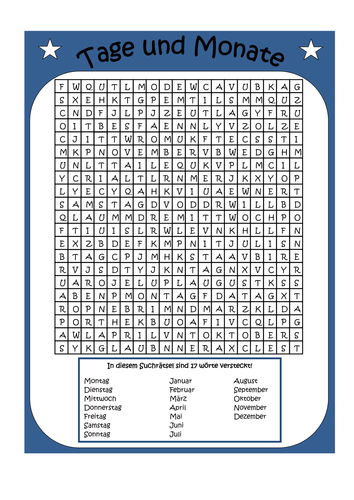 German Vocabulary Word Search and Activity Pack
