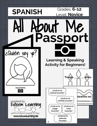 About Me Passport - Personal Information Review Speaking Activity - Spanish