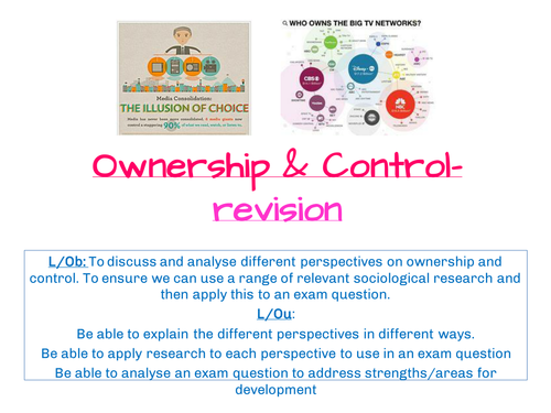 A2 Sociology- AQA SCLY3- Media- Ownership and control revision