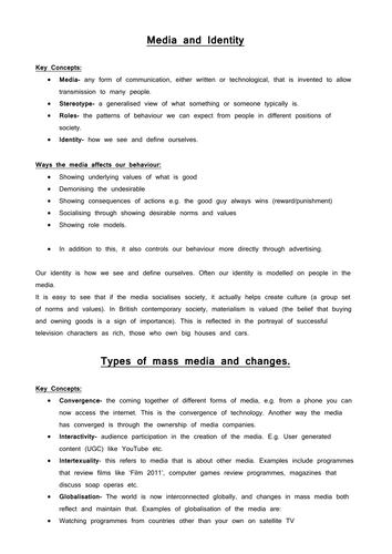 OCR GCSE Sociology revision guide for B762 exam- Mass Media