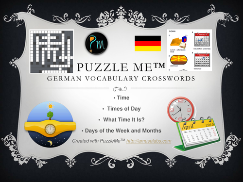 German Vocabulary - Time related Crossword Puzzles