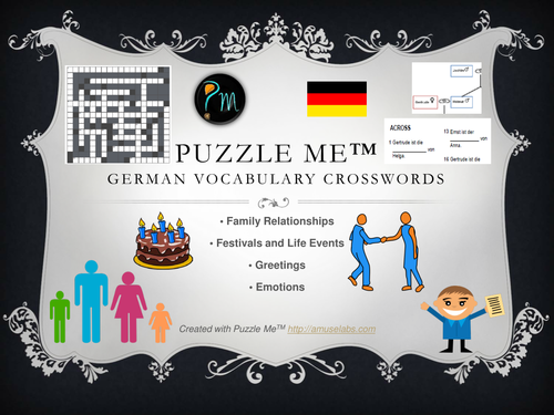 German Vocabulary - Family, Greetings, Emotions Crossword Puzzles