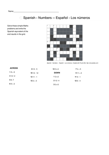 Spanish Vocabulary - Numbers Parts 1 and 2 Crossword Puzzles