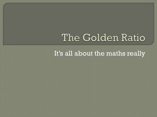 The Golden Ratio - the maths in art