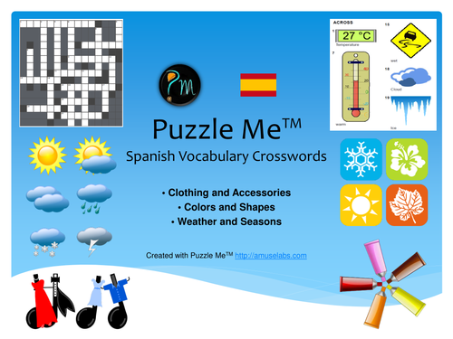 Spanish Vocabulary - Clothing, Color and Weather Crossword Puzzles