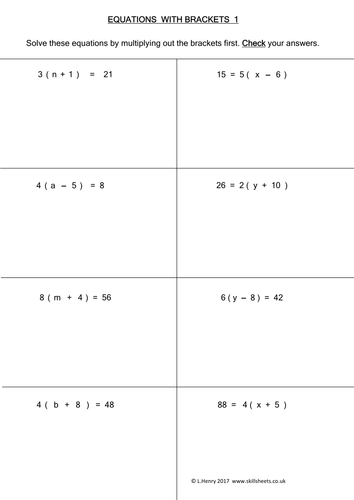 Equations with Brackets - 9 worksheets by Skillsheets - Teaching ...