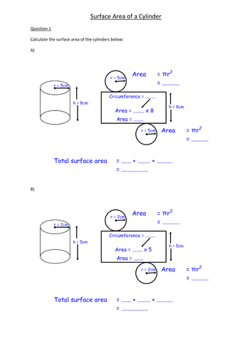 Simple Surface Area Of A Cylinder Progressive Answers By