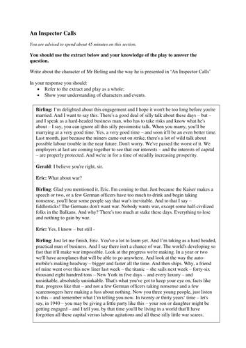 Eduqas Gcse Literature Example An Inspector Calls Exam Questions By  Eduqas Gcse Literature Example An Inspector Calls Exam Questions By Danm   Teaching Resources  Tes