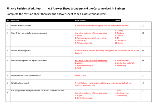 BTEC Business Level 2 Finance Test Papers/ Revision/ Worksheets AND answers