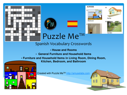 Spanish Vocabulary - House and Rooms - Furniture Crossword Puzzles
