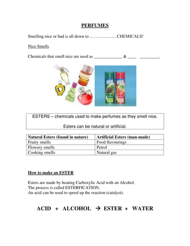 GCSE Chemistry(Foundation/SEN): Perfumes,l, states of matter, solubility, insoluble (9 sheets)