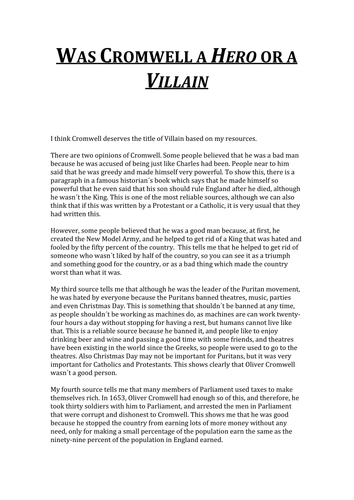 essay was cromwell a hero or a villain by franviajero essay was cromwell a hero or a villain by franviajero teaching resources tes