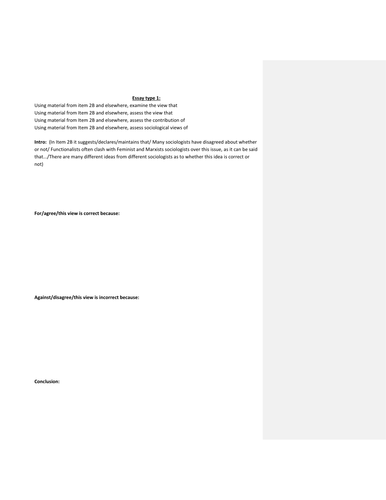 AS Sociology SCLY1 essay format template for Families & Household questions