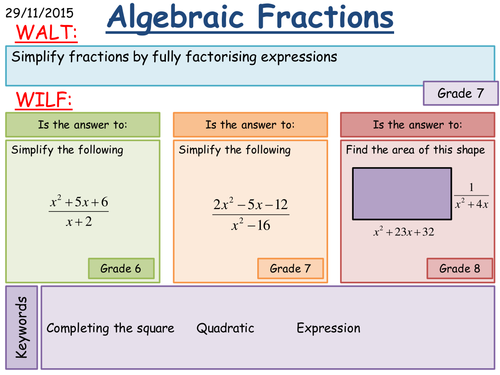 Maths KS4 Simplifying algebraic fractions harder by fintansgirl – Simplifying Algebraic Fractions Worksheets