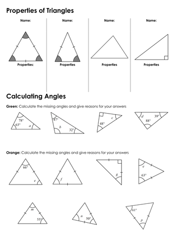 Ks3 angles in triangles by fintansgirl teaching resources tes What do exterior angles of a triangle add up to