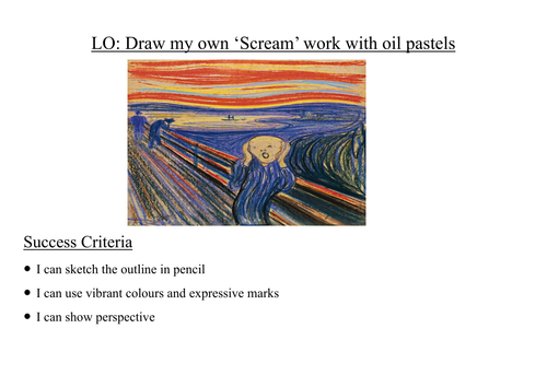 Drawing Lines With Oil Paint : Scream edvard munch oil pastels by megaalex teaching