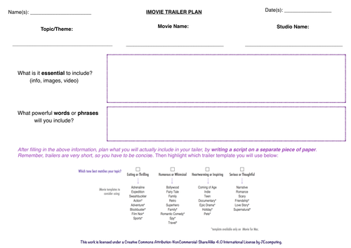 iMovie Trailer Planning Sheets by Jamie160 - Teaching Resources - Tes