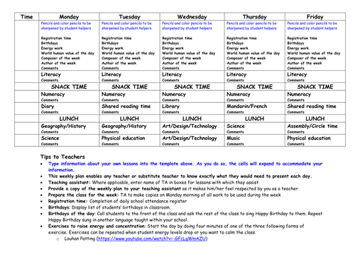 Weekly Lesson Plan Template With Tips By Zenuzek Teaching