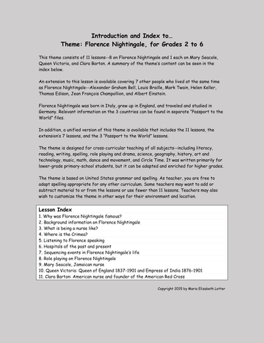 Florence Nightingale Theme and Worksheets (11 lessons)