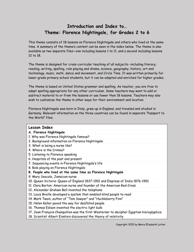 Florence Nightingale Theme and Worksheets (18 lessons)