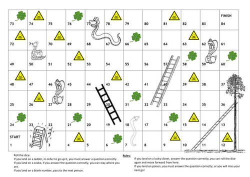 poisonous snakes lucky ladders game for fraction revision but activity can easily be altered. Black Bedroom Furniture Sets. Home Design Ideas