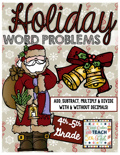 5th Grade Holiday Themed Math Word Problems - Add, Subtract, Multiply & Divide