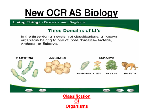 New OCR AS Biology - Classification