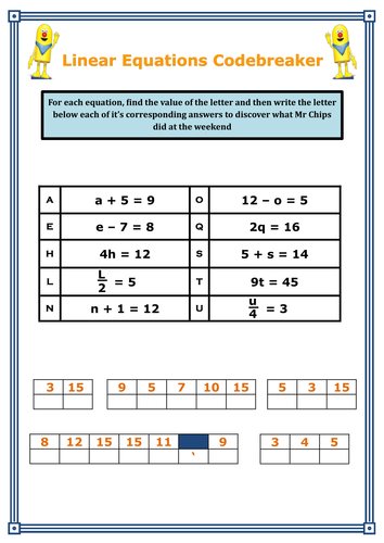 One Step Linear Equations Codebreaker