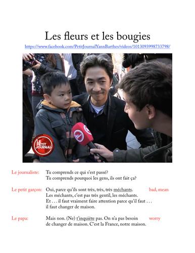 Des fleurs et des bougies (Les attentats du 13 novembre 2015 à Paris)