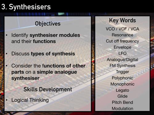 AS Music Technology Scheme of Work