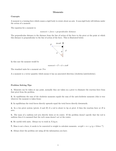 M1 Moments Revision Sheet and Problems
