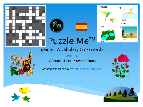 Spanish Vocabulary - Nature Crossword Puzzles