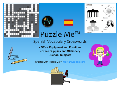 Spanish Vocabulary - Office Furniture, Supplies and School Subjects Crossword Puzzles