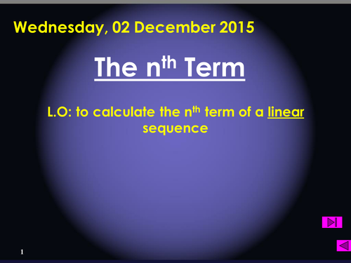 The nth term of a linear sequence