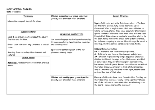 Year 1 English Planning based on John Lewis' The Bear and the Hare Christmas advert