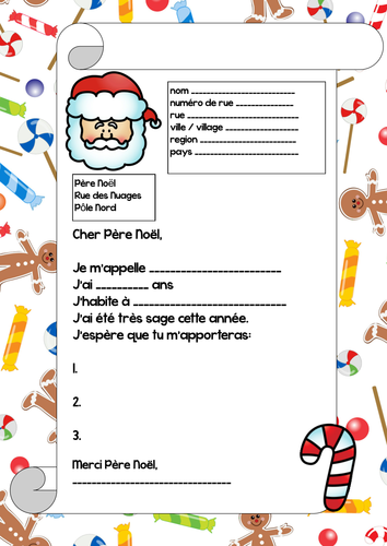 Letter to Father Christmas in French