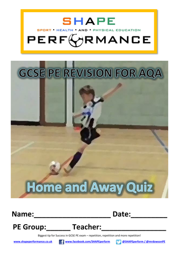 GCSE PE Home and Away 10 mark revision quizzes - Discounted until 10 downloads