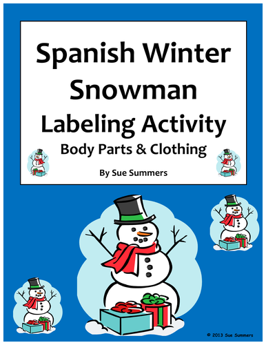 Spanish Christmas / Winter Label the Snowman with Body Parts and ...