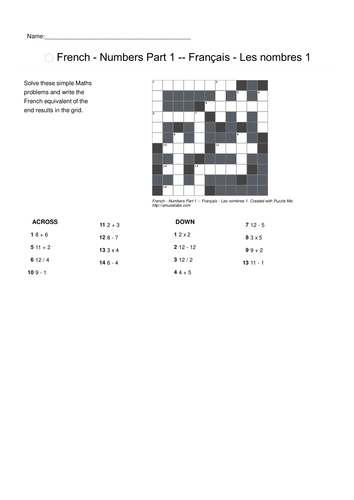 French Vocabulary - Numbers Parts 1 and 2 Crossword Puzzles
