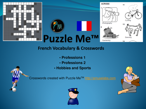 French Vocabulary - Professions, Sports and Hobbies Crossword Puzzles