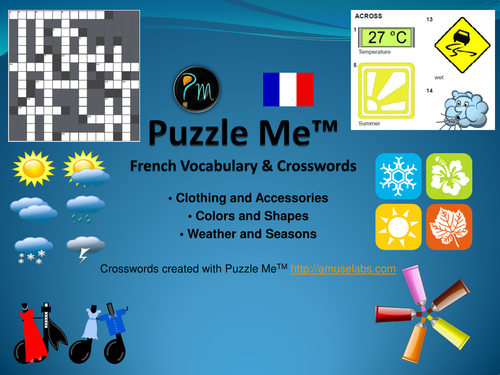 French Vocabulary - Clothing, Color and Weather Crossword Puzzles