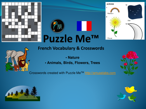 French Vocabulary - Nature Crossword Puzzles