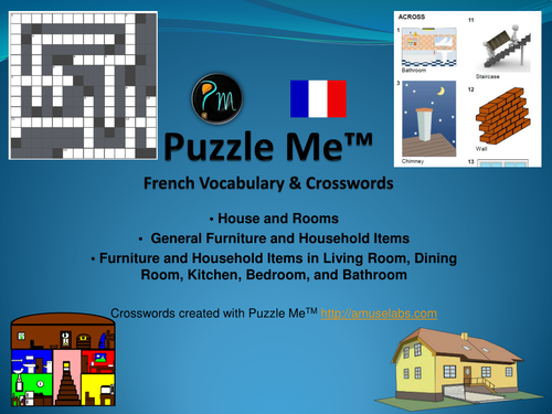 French Vocabulary - House and Rooms - Furniture Crossword Puzzles