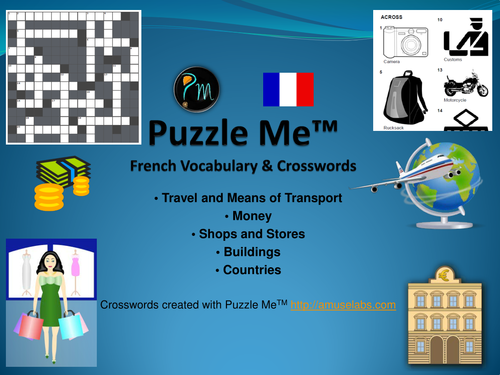 French Vocabulary - Travel, Buildings and Money Crossword Puzzles