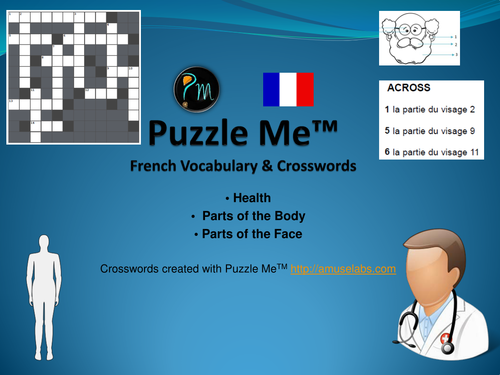 French Vocabulary - Health, Parts of the Face and Body Crossword Puzzles