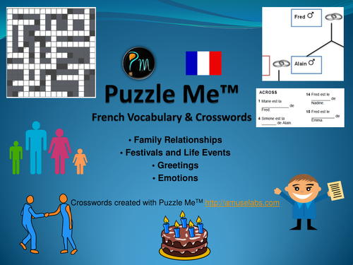 French Vocabulary - Family, Greetings, Emotions Crossword Puzzles