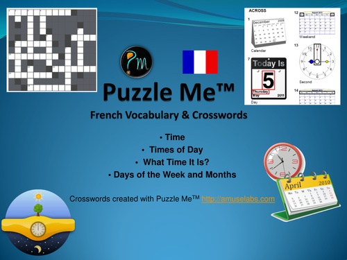 French Vocabulary - Time related Crossword Puzzles