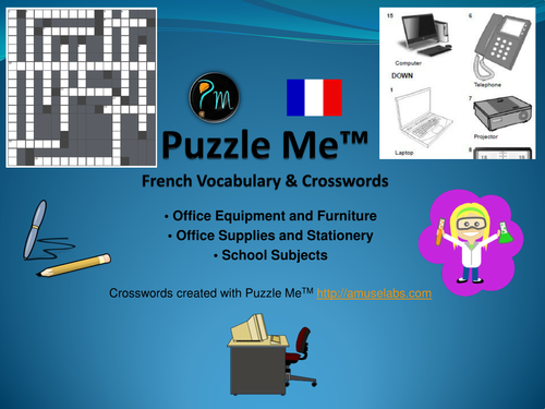 French Vocabulary - Office Furniture, Supplies and School Subjects Crossword Puzzles